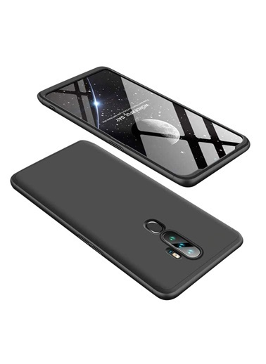 MobilCadde Zore GKK Ays Oppo A5 2020 360 Derece Koruma Siyah Rubber Kılıf Siyah